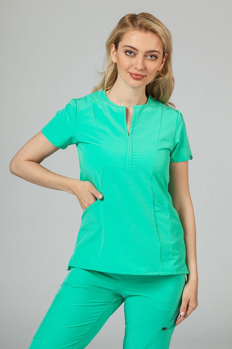 Bluza damska Adar Uniforms Notched jasnozielona