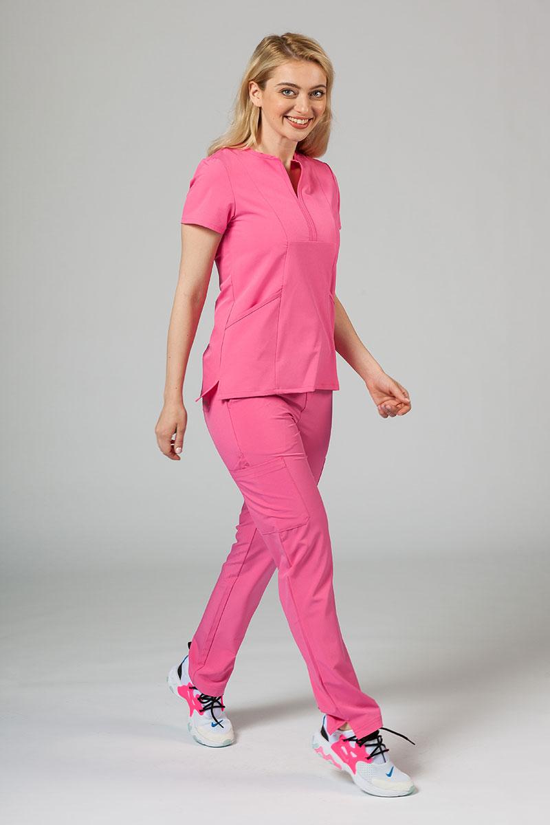 Komplet medyczny Adar Uniforms Cargo różowy (z bluzą Notched - elastic)