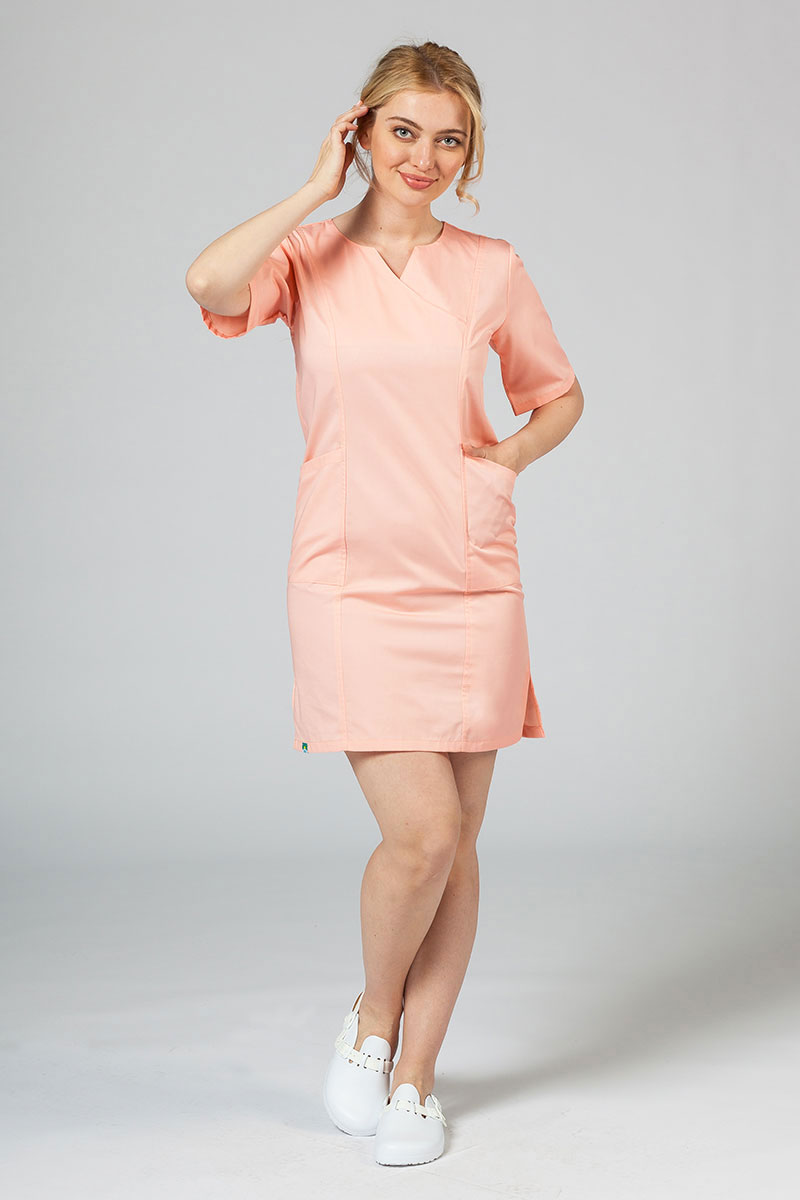 Sukienka medyczna damska klasyczna Sunrise Uniforms łososiowa