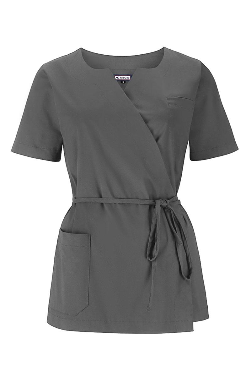 Bluza medyczna damska na wiązanie MeClo szara