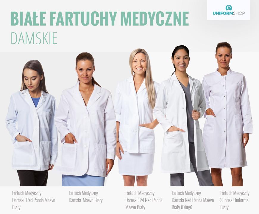 Białe fartuchy medyczne damskie