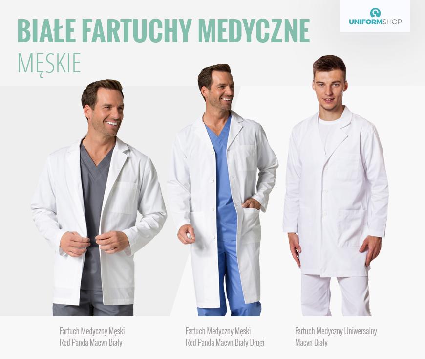 Białe fartuchy medyczne męskie